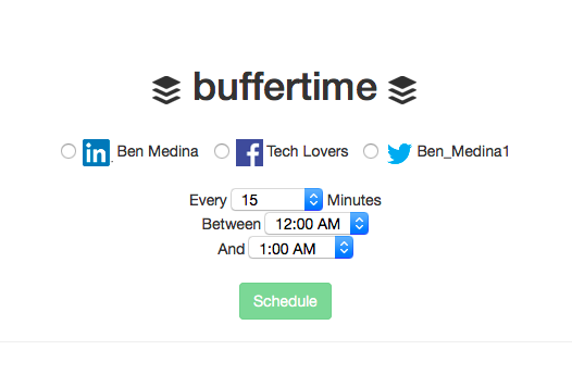 The Buffti.me website. Notice the options for customizing schedules